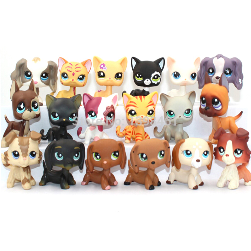 Pet Shop Lps Toys Dog Collection Standing Short Hair Cat 5 Cocker Spaniel Collie Dachshund Great Dane White Pink Littlest Animal
