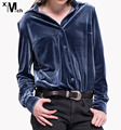 Fashion Casual OL Velvet Shirts Long-sleeve Turn-down collar Stretch Velour Shirts Blouse Navy Color  BL09746CT