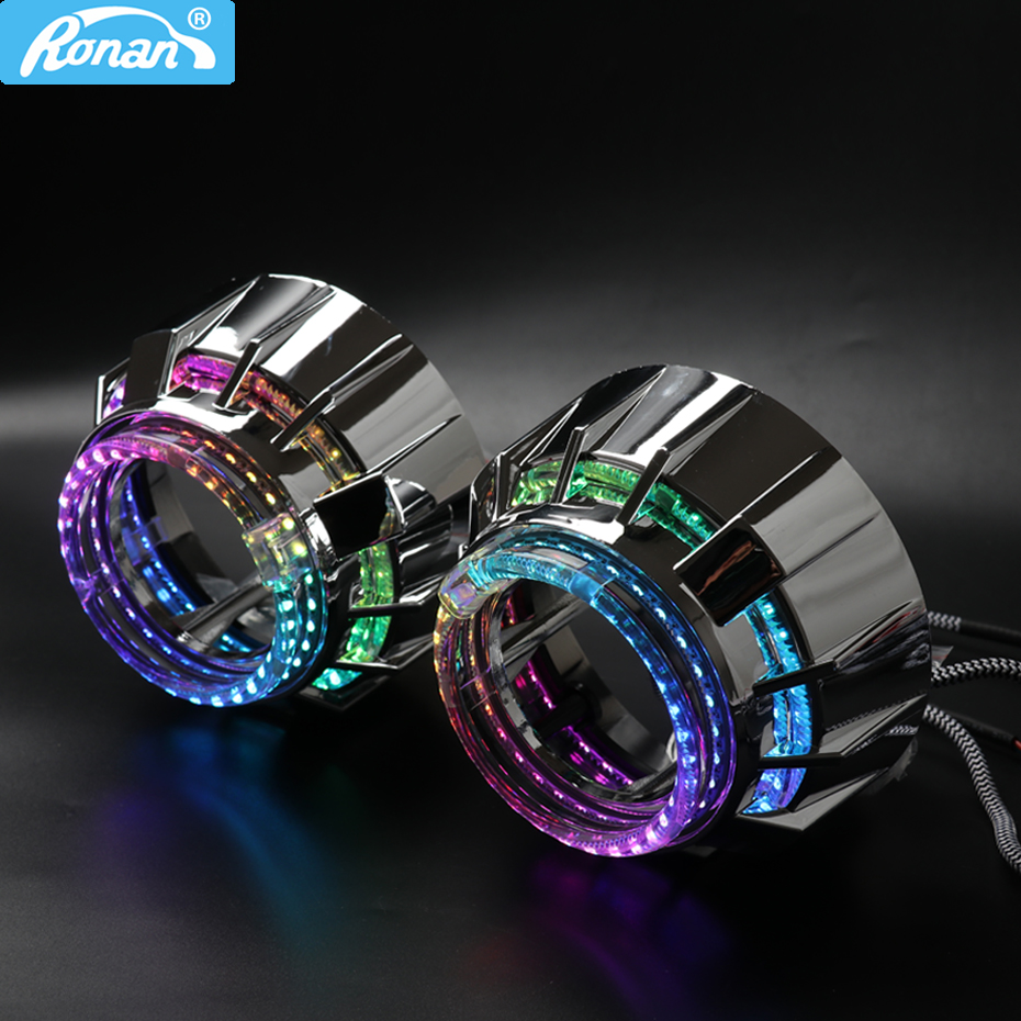 RONAN 2.5 Inch WRGB Double LED Integrated Shrouds Angel Eye Masks DRL For 2.5 Inch WST Bi Xenon Bi-led Projector Lens Shrouds