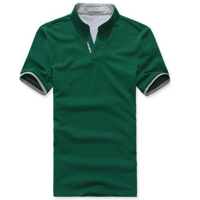 Effen kleur klassiek T-shirt heren revers korte mouw Tee Plus - Herenkleding