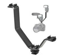 Triple Hot Shoe V Mount Flash Bracket for Video Lights Microphones or Monitors on Cameras and Camcorders