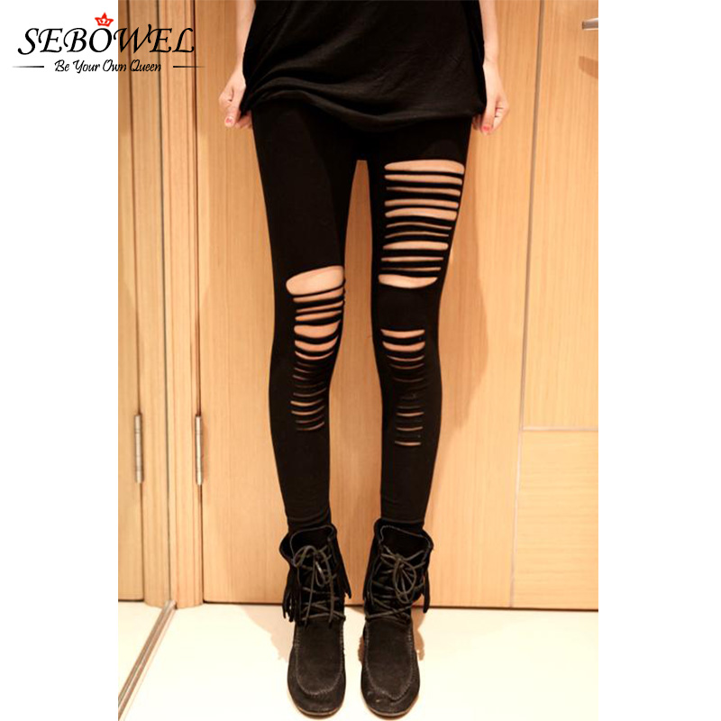 SEBOWEL 2018 Good Stretch Basic Holes Ripped Leggings Women Punk Rock Fashion Black High Waist Leggings Casual Jeggings Legins