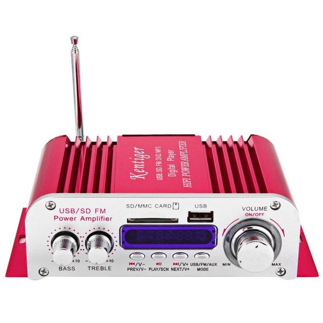Amplificador carro novo Hi - Fi Digital Auto amplificadores de potência estéreo modo de som de áudio Music Player USB MP3 DVD SD MMC FM Red Power Car