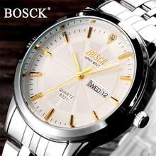 BOSCK Famous Brand Watches Men Luxury Brand Watches Mens Diamond Auto Date Calendar Sport Watch Waterproof Relogios Masculino