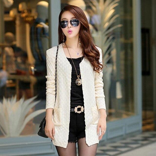 Long Autumn Cardigan With Pockets Female Long Sleeve Feminino Tops 3