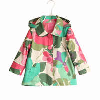 New 2-7T children's jacket girls Spring Autumn Kids outerwears Fashion long sleeve Flower hoodie Trench Coat for girls