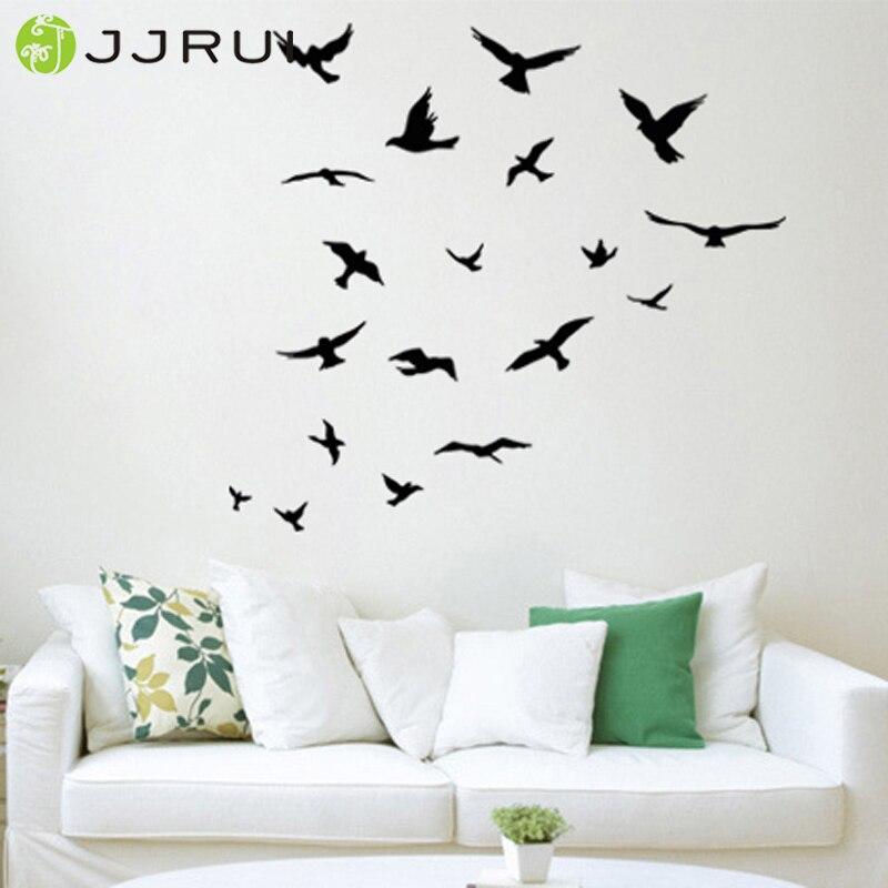 JJRUI bandada de pájaros volando habitación decoración etiqueta de - Decoración del hogar - foto 1