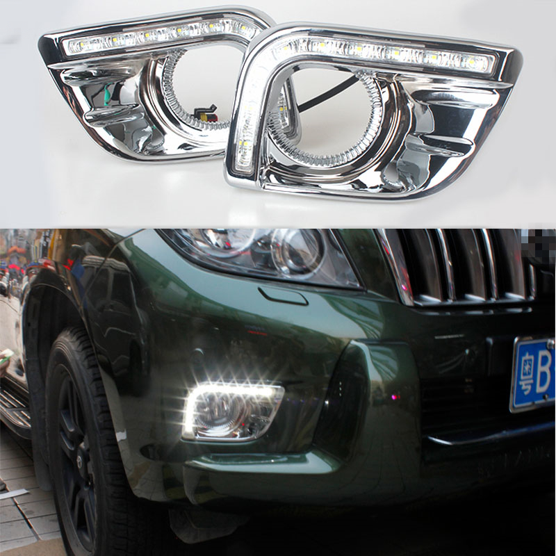 12v CAR LED DRL Daytime Running Light with fog lamp hole for Toyota Prado FJ150 LC150 2010 2011 2012 2013 Land Cruiser 2700/4000 car parts bumper protector guard skid plate for toyota prado fj150 2010 2011 2012 2013