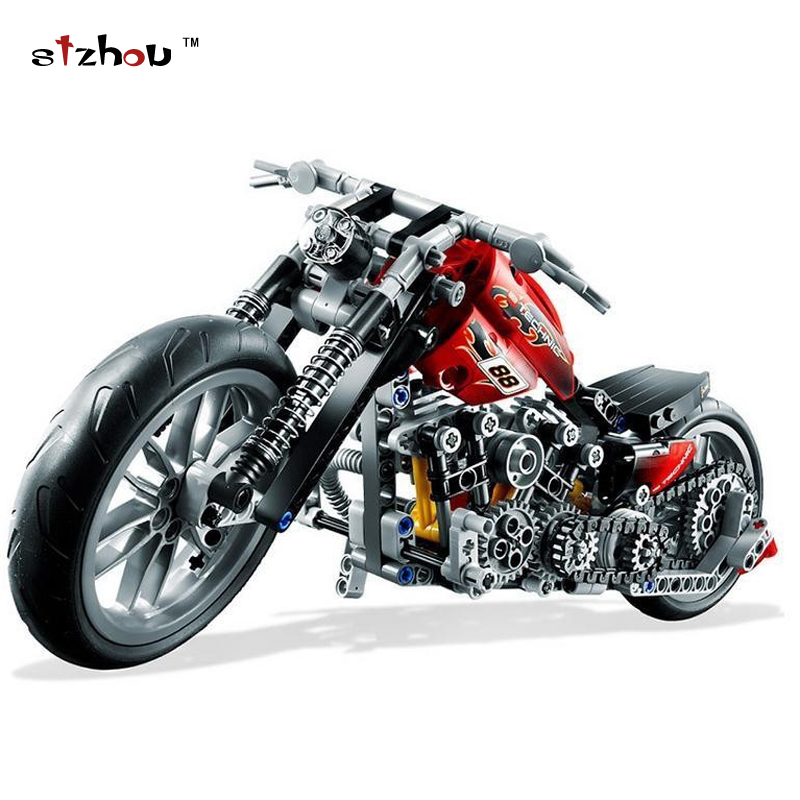 Stzhou 3354 Motorcycle Harley Vehicle Model building kits compatible with legoed city 3D blocks Educational toys for children lepin 22001 pirate ship imperial warships model building block briks toys gift 1717pcs compatible legoed 10210