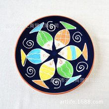 Hand painted ceramic tableware breakfast dish 8.5 Inch round plate