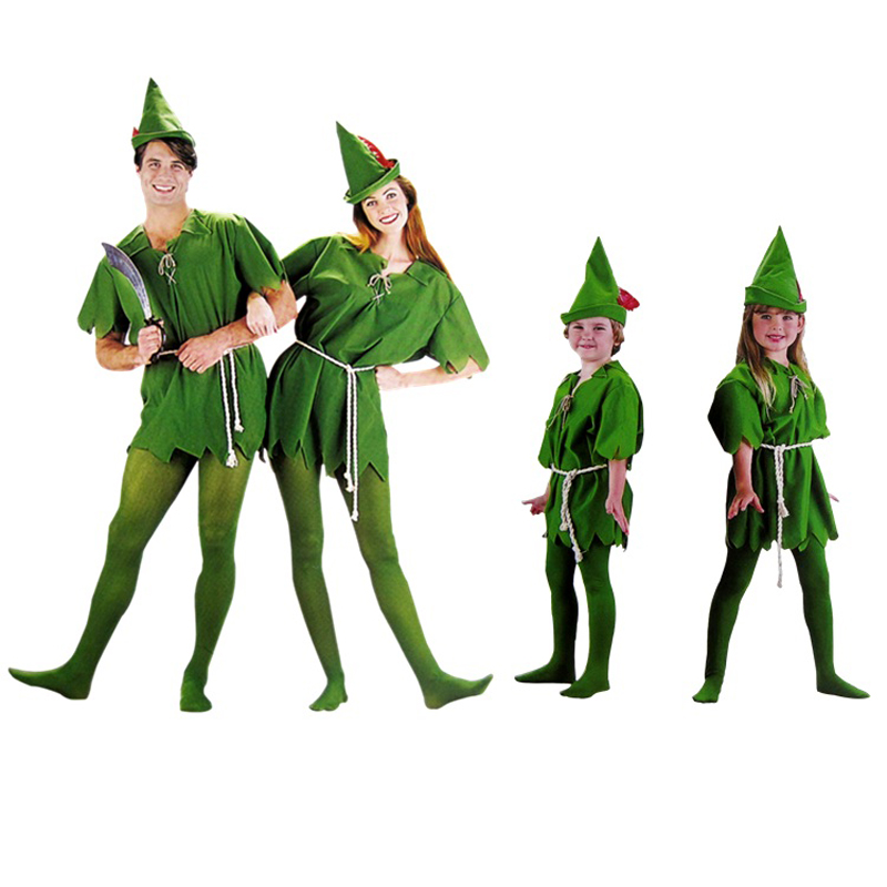 Halloween costume party dress Green elves Peter pan Role playing apparel Free shipping
