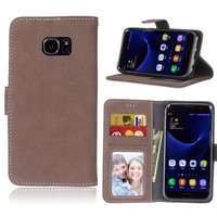 Scrub Case For Samsung Galaxy S7 Edge Leather Wallet Flip Hoesjes Frame Card Slot Cover Case