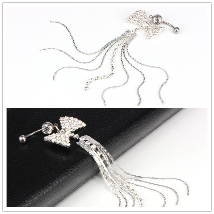 Butterfly Tassel Navel Bar Claw Navel Ring Crystal Long Tassel Barbell Belly Button Ring Stud Body Piercing Jewelry