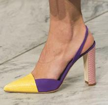 Hot Fashion Sexy White/yellow/blue/purple Genuine leather shoe Pointed toe Square heel  Slip-on Mixed Color Womens Sandals