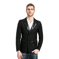 MarKyi 2017 Fashion Mens Black Double Breasted Blazer Good Quality Leather Collar Mens Blazer Jacket Eu