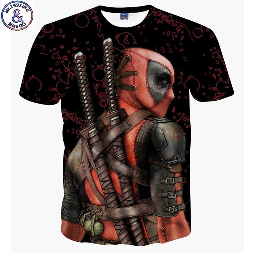 Mr.1991 new listing Bad guy deadpool 3D printed Boy's t-shirt 6 -20 years teenage big kids children's tshirt NA8 женская футболка other 2015 3d loose batwing harajuku tshirt t a50