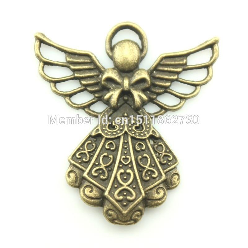 5pcs Vintage Charms Guardian Angel Pendant Antique Bronze Fit Bracelet Necklace DIY Metal Jewelry Making Size:42*39mm D11156