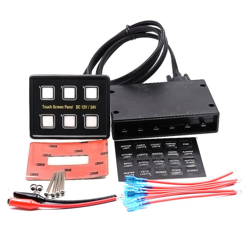 New Arrival Car styling 6 Gang Touch Waterproof Car Auto Boat Marine LED Panel Circuit Breakers
