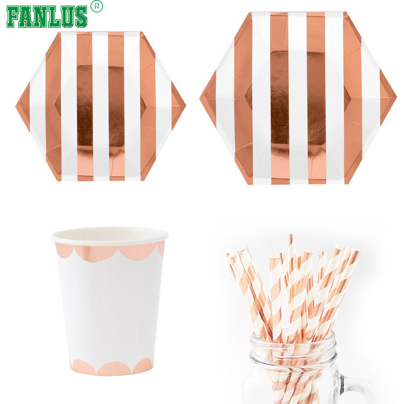 FANLUS Party Disposable Rose gold Dinnerware Set Heavyweight Paper Plates | Hexagon Design for Upscale Wedding and Dining -in Disposable Party Tableware ...  sc 1 st  AliExpress.com & FANLUS Party Disposable Rose gold Dinnerware Set Heavyweight Paper ...