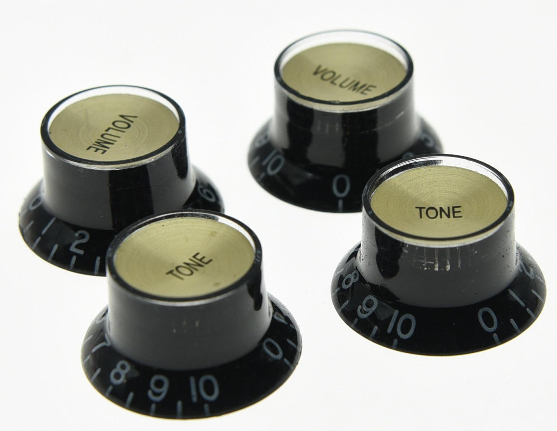 4x LP Guitar Reflector Knobs Black/Gold Top Hat Knobs Fits For Epi LP SG 4x gold lp guitar knobs control knobs speed knobs