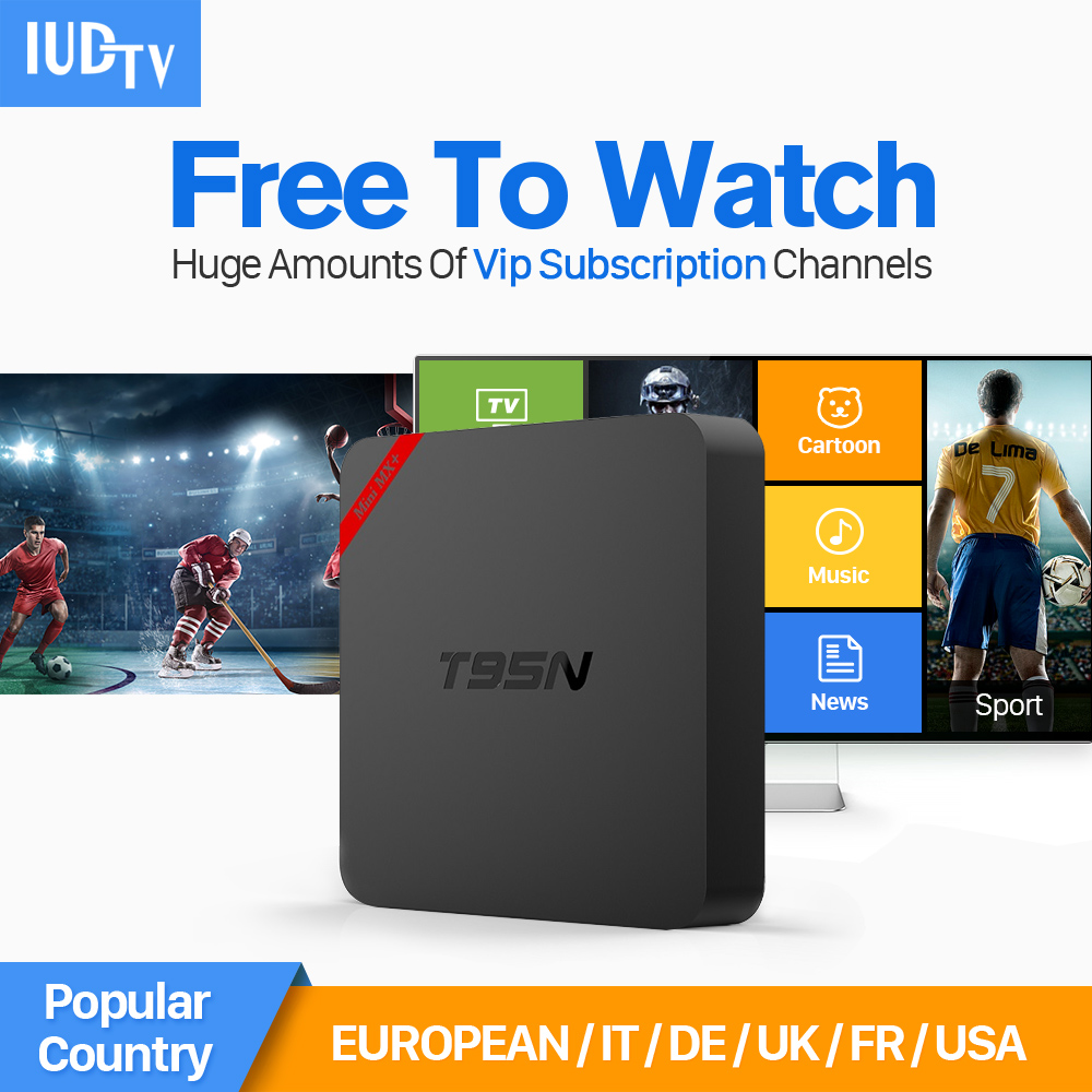 Amlogic S905X Quad Core Android 6.0 Smart TV BOX Smart Android Media Player Set Top Box + 1700 Free IPTV Channels Europe Arabic 2017 android 6 0 top box m92s note wifi media player amlogic s912 quad core cortex a53 smart android tv box caja de tv androide