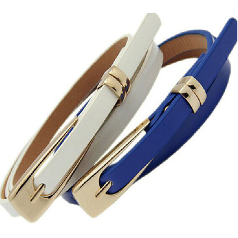 2019 Fashion Female Thin Pu Leather Narrow Waistband Belt For Women Girl Skinny Candy Color Waist Belt Jeans Dress Decoration