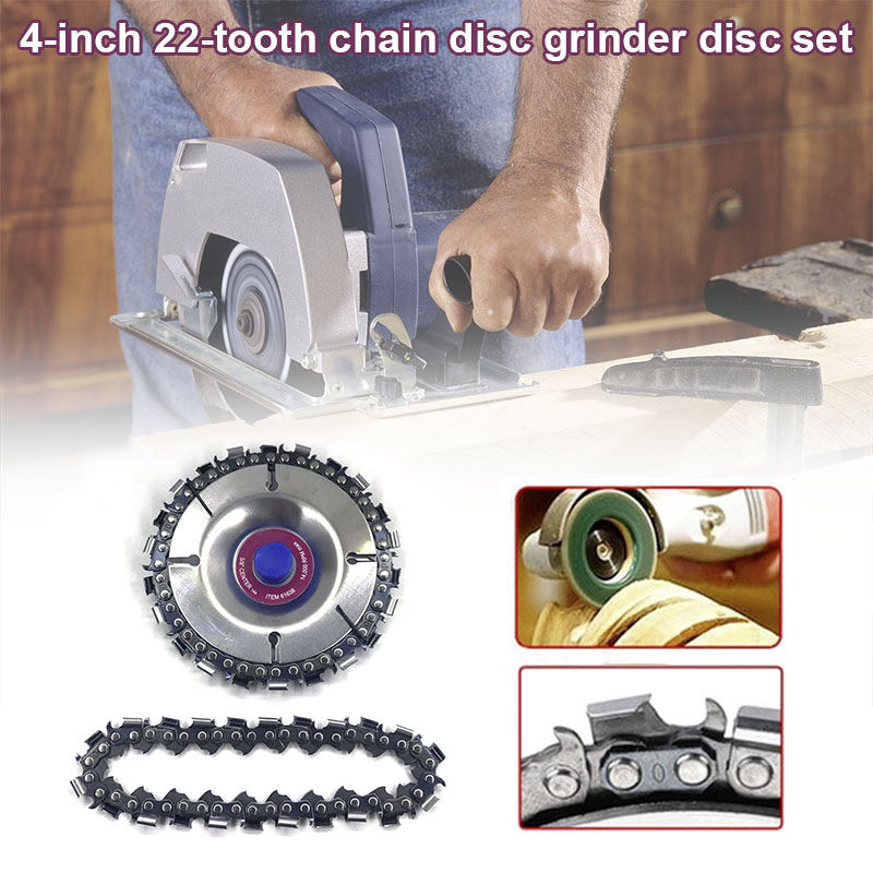4 Inch 22 Teeth Chain Disc Arbor Wood Carving Disc For 100/115 Angle Grinder QJ888
