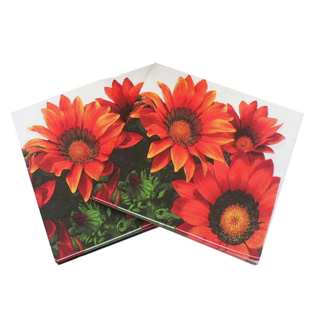 20pcs/pack/lot Sunflower Paper Napkin Flower Para Festas & Party Supply Tissue Decoupage Servilleta 33*33cm
