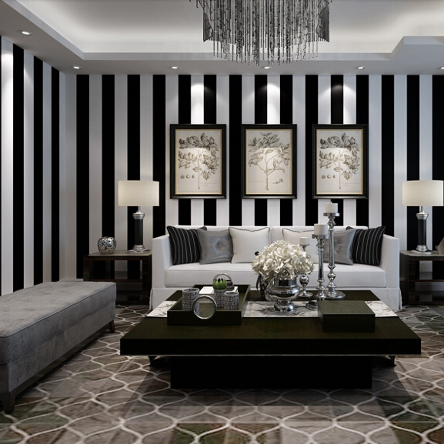 Beibehang black and white stripes wallpaper for walls 3 d for Wallpaper on walls home decor furnishings