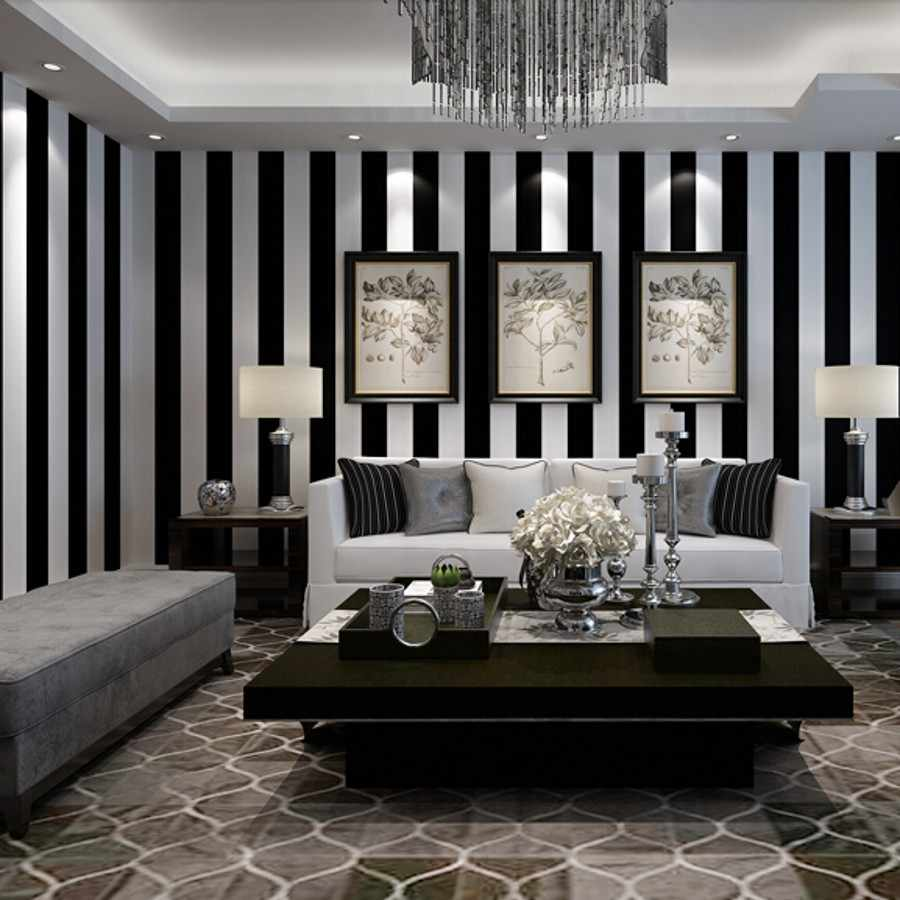 beibehang Black and white stripes wallpaper for walls 3 d mural papel de parede d flocking.jpg q50