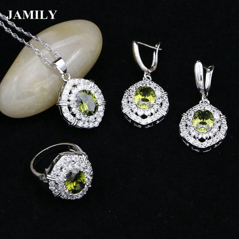 Necklace-Set Bridal-Jewelry-Sets Pendant-Ring Decoration Zircon 925-Silver Natural Women