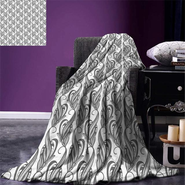 Grey And White Throw Blanket Artistic Swirling Leaves Flower Petals Adorable Grey And White Throw Blanket