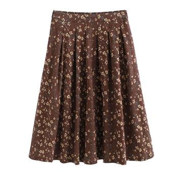 Mori Girl Autumn Winter Women Long Skirt High Waist Floral Print Vintage Midi Skirt Elegant Sweet Corduroy Ladies Saia Skirts girl