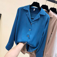 Autumn Suit Collar Chiffon Blouse Women Long Sleeve Shirt Woman Blusa Feminina Elegant Blue White Womens Shirts Top Femme C4891