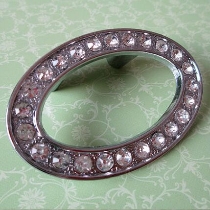 64mm fashion deluxe ellipse glass diamond furniture decoration handles 2 5 silver chrome drawer cabinet pulls