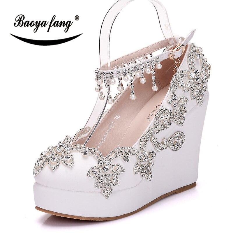 BaoYaFang Fashion High Wedges Women Party Dress Shoes