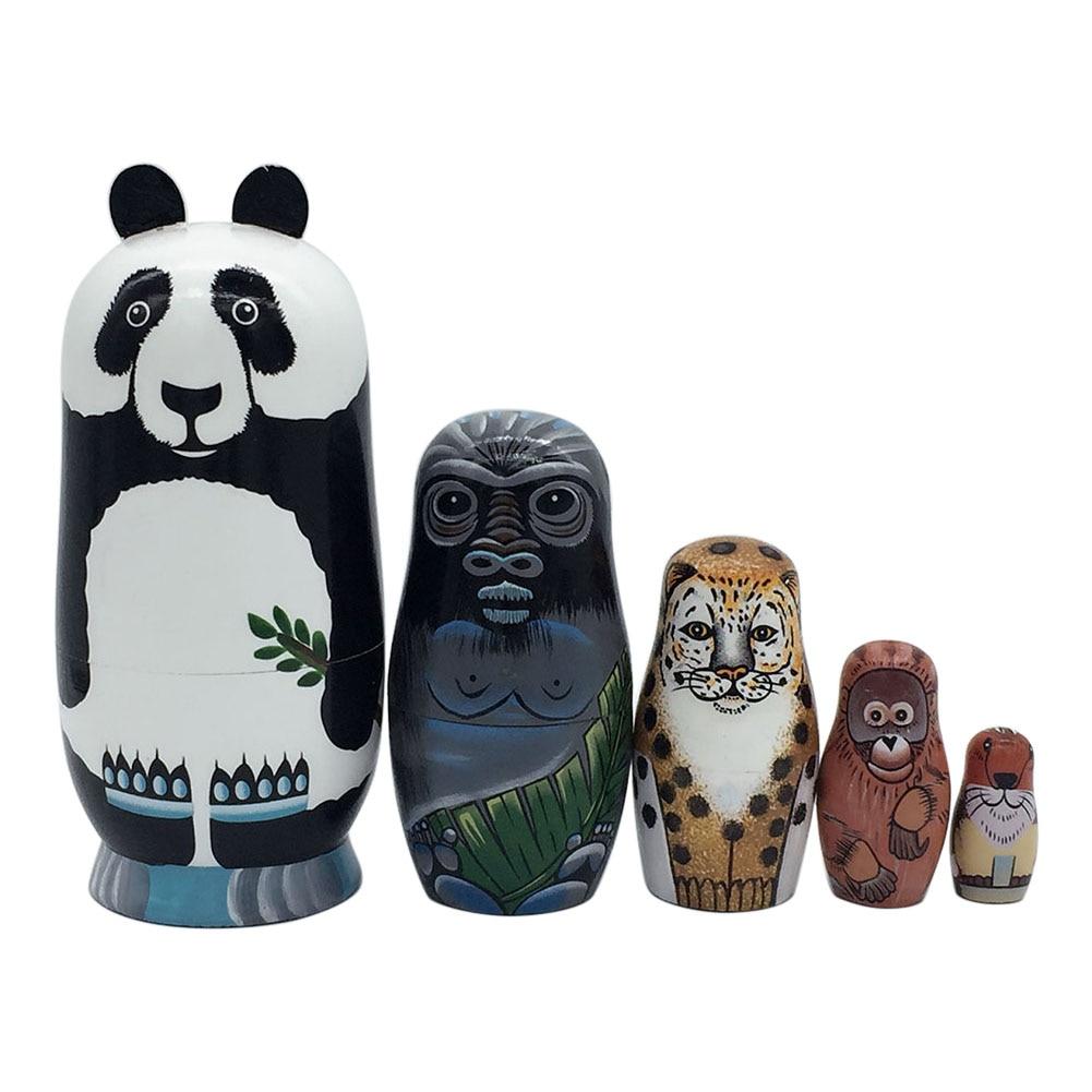 5 Layers Nesting Dolls Wood Panda Penguin Bear Girl Dolphin Hand-painted Russian Doll Matryoshka Toy Home Decor Kid Gift BM88