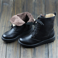 Careaymade Winter Round With Velvet Japanese Mori Girl Boots Women Flat Heel Boots Cowhide Lace Up