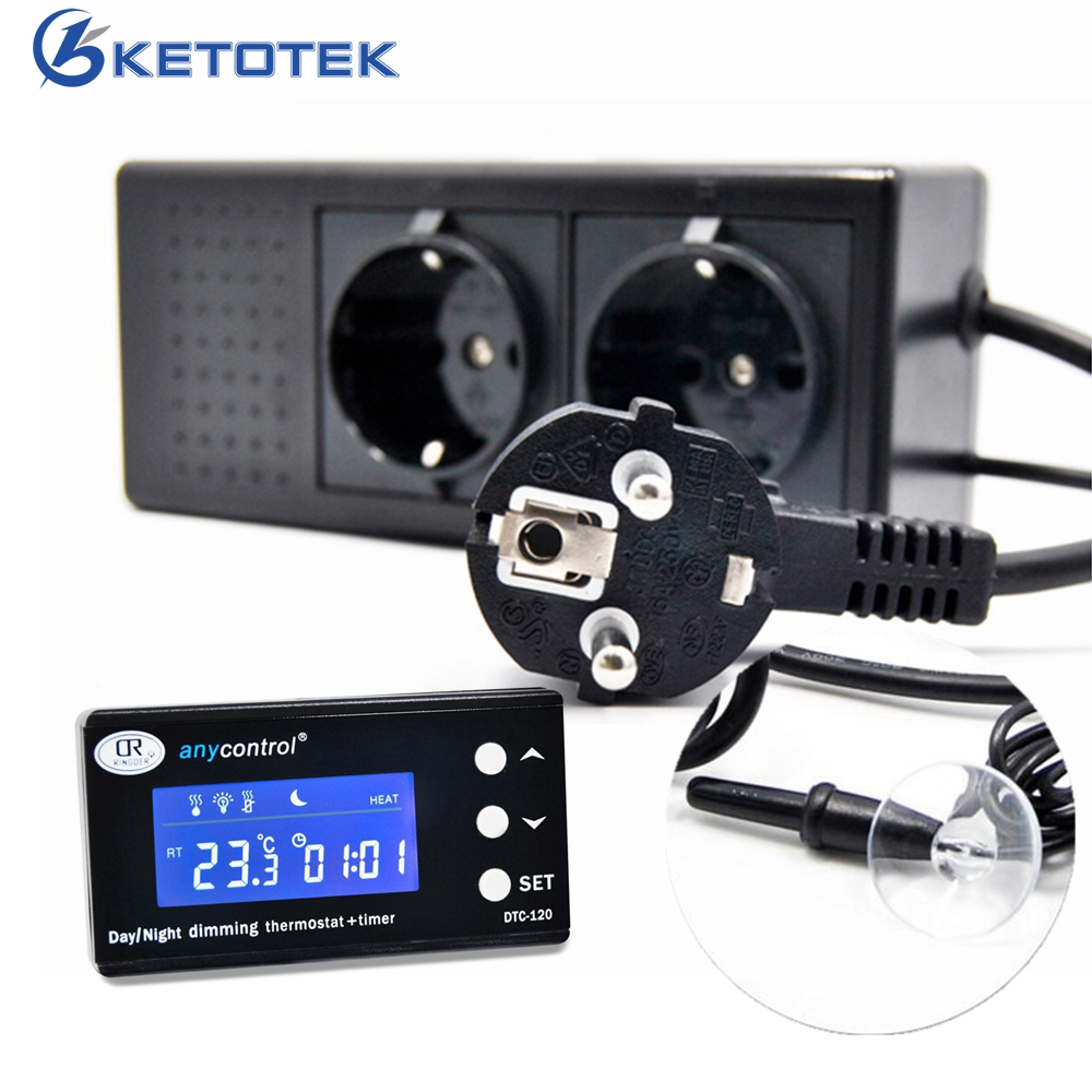 Digital Temperature Controller Timer Day Night Reptile Dimming Thermostat for Aquarium PID Control with EU plug