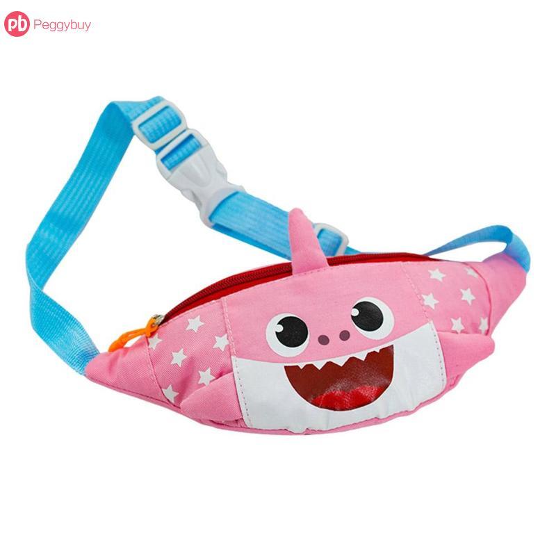 Kids Cute Waist Bag Shark Smile Belt Bag Mini Zipper Fanny Pack Canvas Shoulder Waist Pack Small Colorful Handbags For Kids