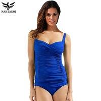 One Piece Swimsuit Plus Size Swimwear Women 2016 Summer Beachwear Halter Push Up Bathing Suit Retro