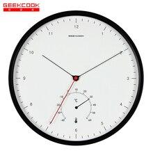 Новый Творческий Металл Дизайнер Настенные Часы Простой Шкале Nordic Минималистский Стиль Термометр Гигрометр многофункциональный Настенные Часы