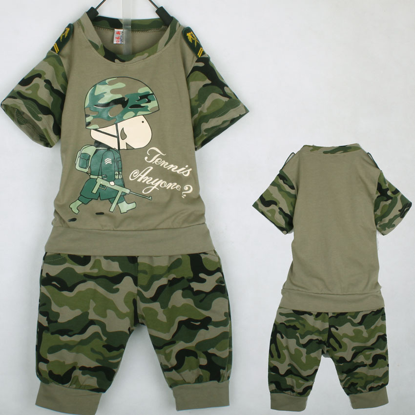 3786ebcab 2 Colours Retail 2015 New Boys Camouflage short sleeve t shirt + pants set  Children's fashion Costume kids summer clothing sets-in Clothing Sets from  Mother ...