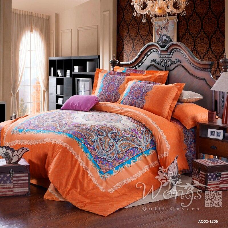 Bedding Set Full Queen Size Bed New 100% Cotton Linen Quilt Cover Set Pillow Cases Home Textile Orange&Pink Paisley Duvet Covers