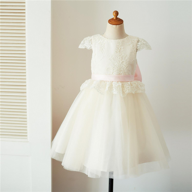 dfed5c26c8e LAN TING BRIDE Ball Gown Knee Length Flower Girl Dress - Lace Tulle Short  Sleeves Jewel Neck with Appliques Bow(s) Sash   Ribbon