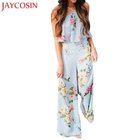 JAYCOSIN 2018 Jumpsuits Summer Women Strap Floral Sleeveless Backless Jumpsuit Long Wide Leg Trousers C7713Q Free Shiping