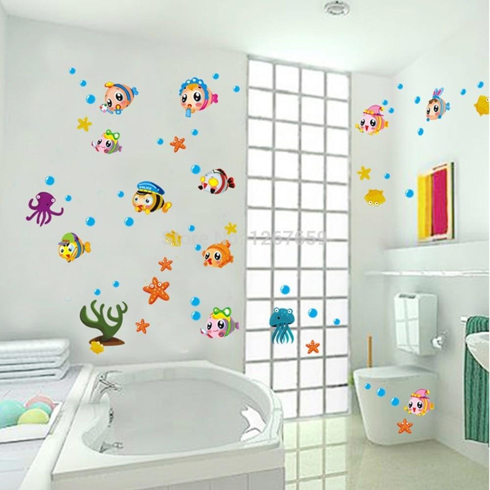 trasporto libero diy adesivi murali bambino reale bagno adesivi murali armadio da cucina di pesce