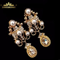 Bridal Jewelry Imitated Pearl Crystal Chandelier Earrings Gold Tone Scroll Work Statement Pear Shaped Drop Earrings