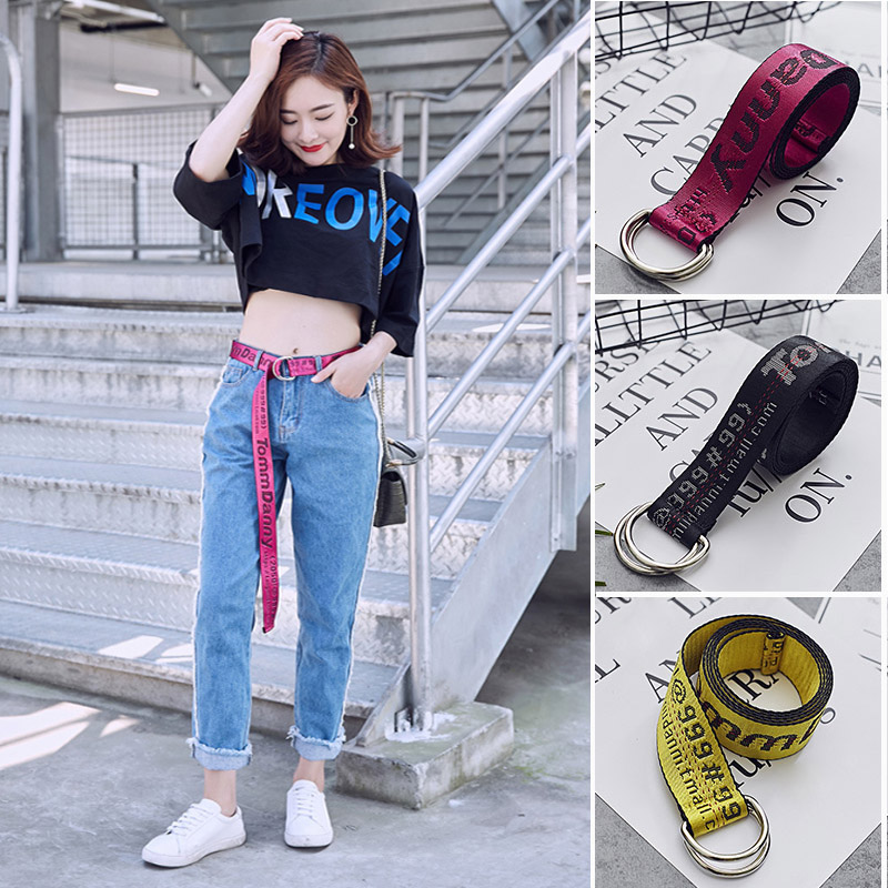 200cm Off White Style Canvas   Belts   Industrial Letter Tomm Danny Harajuku Canvas WaistBelt Women Men Street Punk Embroidery Strap