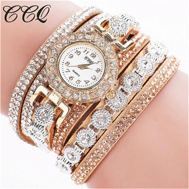 CCQ Women's Bracelet Ladies Rhinestones Clock Vintage Fashion Dress Wristwatches